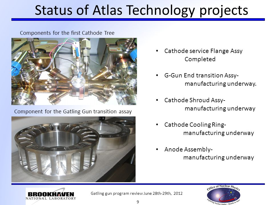 Status of Atlas Technology projects Components for the first Cathode Tree Component for the Gatling Gun transition assay Cathode service Flange Assy Completed G-Gun End transition Assy- manufacturing underway.