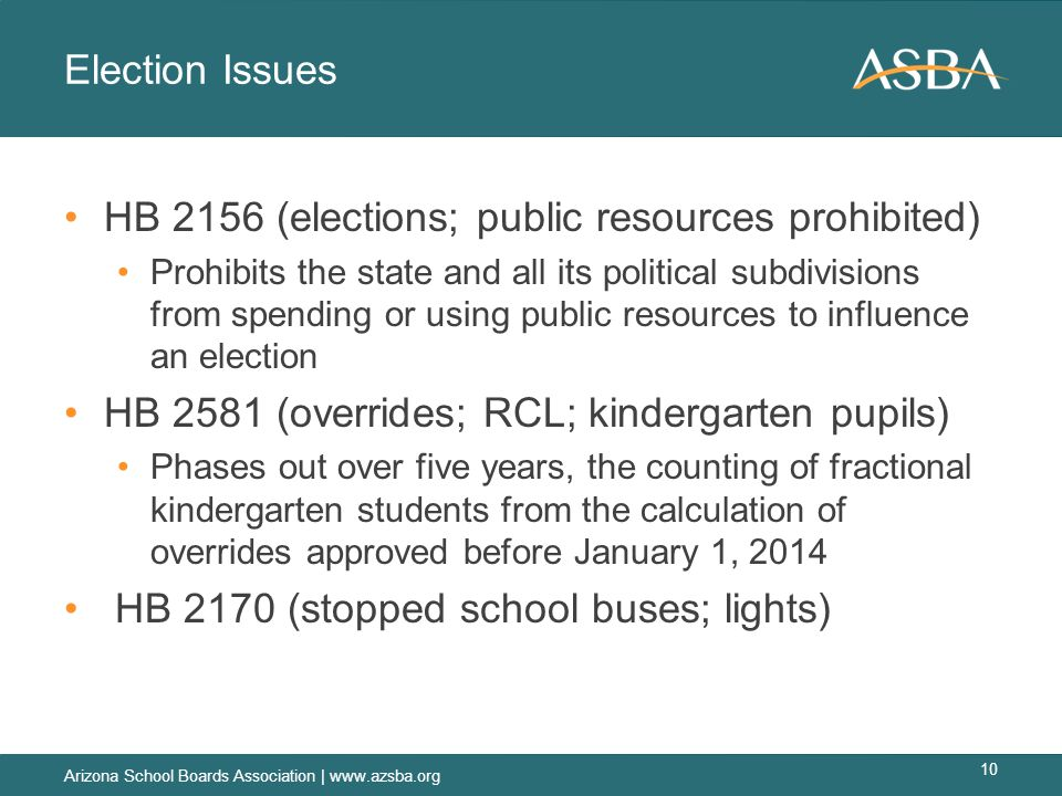 Election Issues HB 2156 (elections; public resources prohibited) Prohibits the state and all its political subdivisions from spending or using public resources to influence an election HB 2581 (overrides; RCL; kindergarten pupils) Phases out over five years, the counting of fractional kindergarten students from the calculation of overrides approved before January 1, 2014 HB 2170 (stopped school buses; lights) Arizona School Boards Association | www.azsba.org 10