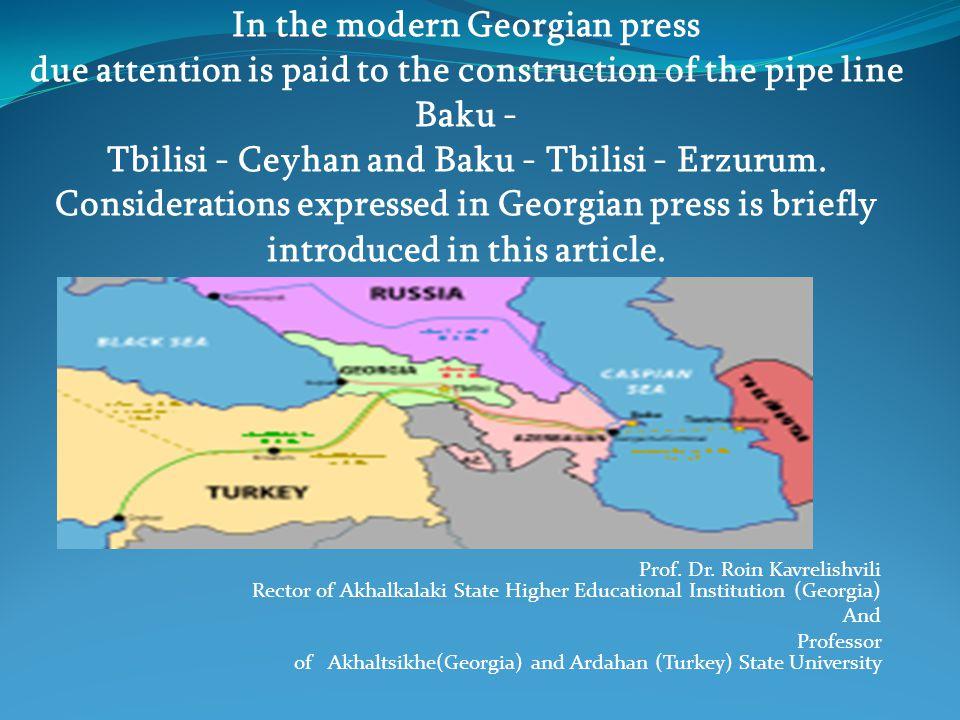 Prof. Dr. Roin Kavrelishvili Rector of Akhalkalaki State Higher Educational Institution (Georgia) And Professor of Akhaltsikhe(Georgia) and Ardahan (T