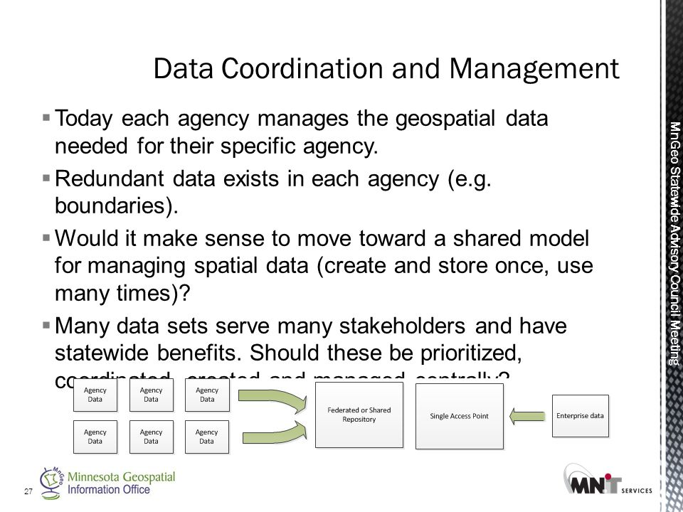 MnGeo Statewide Advisory Council Meeting  Today each agency manages the geospatial data needed for their specific agency.
