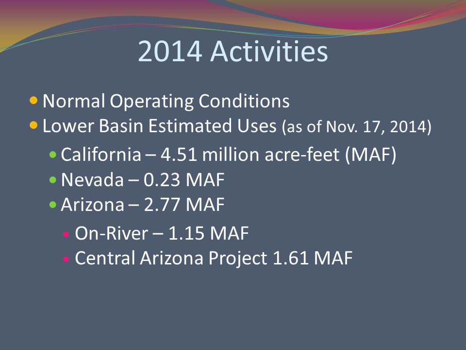 2014 Activities Normal Operating Conditions Lower Basin Estimated Uses (as of Nov.