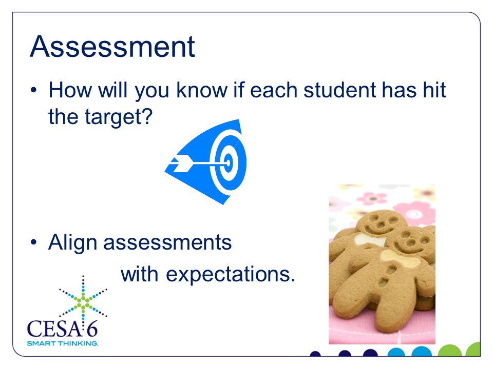 Assessment How will you know if each student has hit the target.