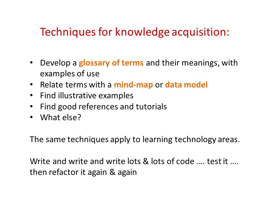 Develop a glossary of terms and their meanings, with examples of use Relate terms with a mind-map or data model Find illustrative examples Find good references and tutorials What else.