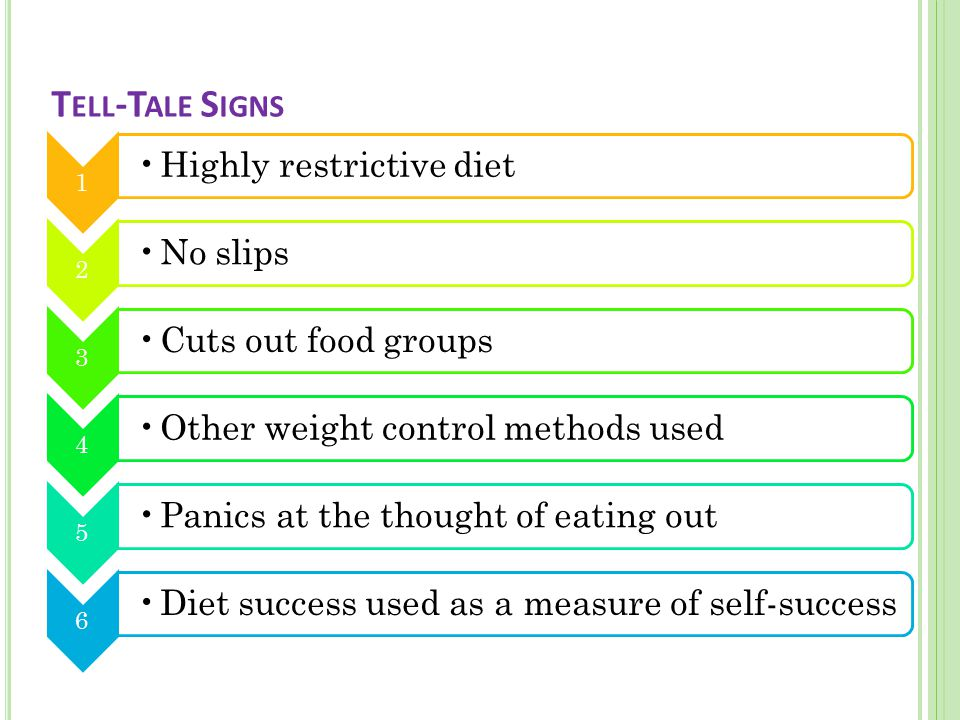 Weight gain will be taken very badly and even a small gain will make the young person feel like a failure as will failing to stick to their diet rules.