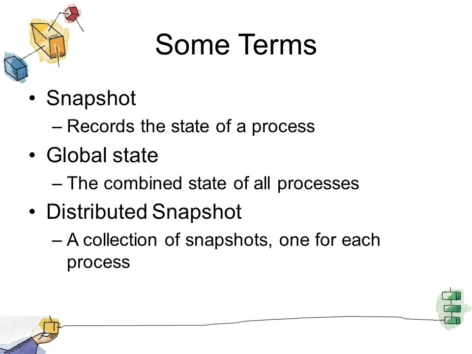 Some Terms Snapshot –Records the state of a process Global state –The combined state of all processes Distributed Snapshot –A collection of snapshots, one for each process