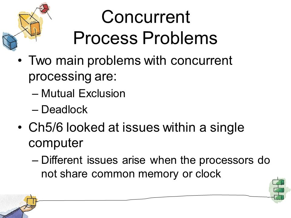 Concurrent Process Problems Two main problems with concurrent processing are: –Mutual Exclusion –Deadlock Ch5/6 looked at issues within a single computer –Different issues arise when the processors do not share common memory or clock