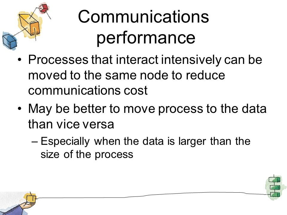 Communications performance Processes that interact intensively can be moved to the same node to reduce communications cost May be better to move process to the data than vice versa –Especially when the data is larger than the size of the process