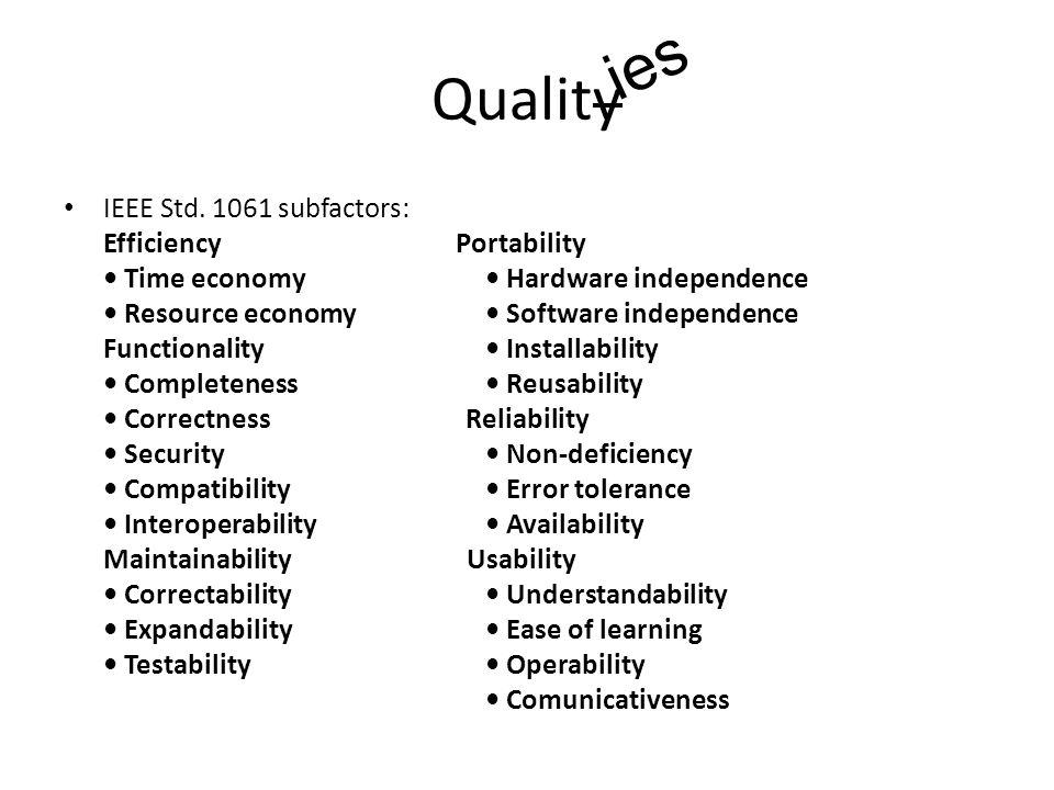 Quality IEEE Std.