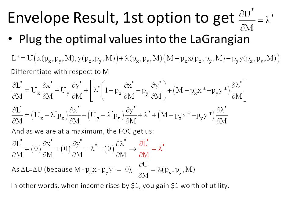 Plug the optimal values into the LaGrangian Envelope Result, 1st option to get