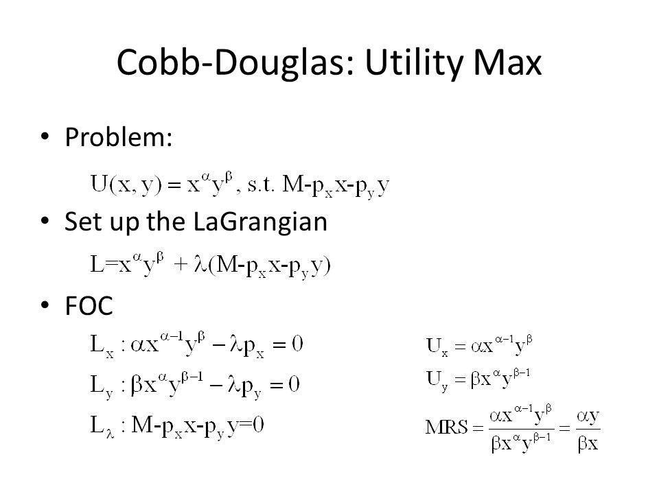 Cobb-Douglas: Utility Max Problem: Set up the LaGrangian FOC