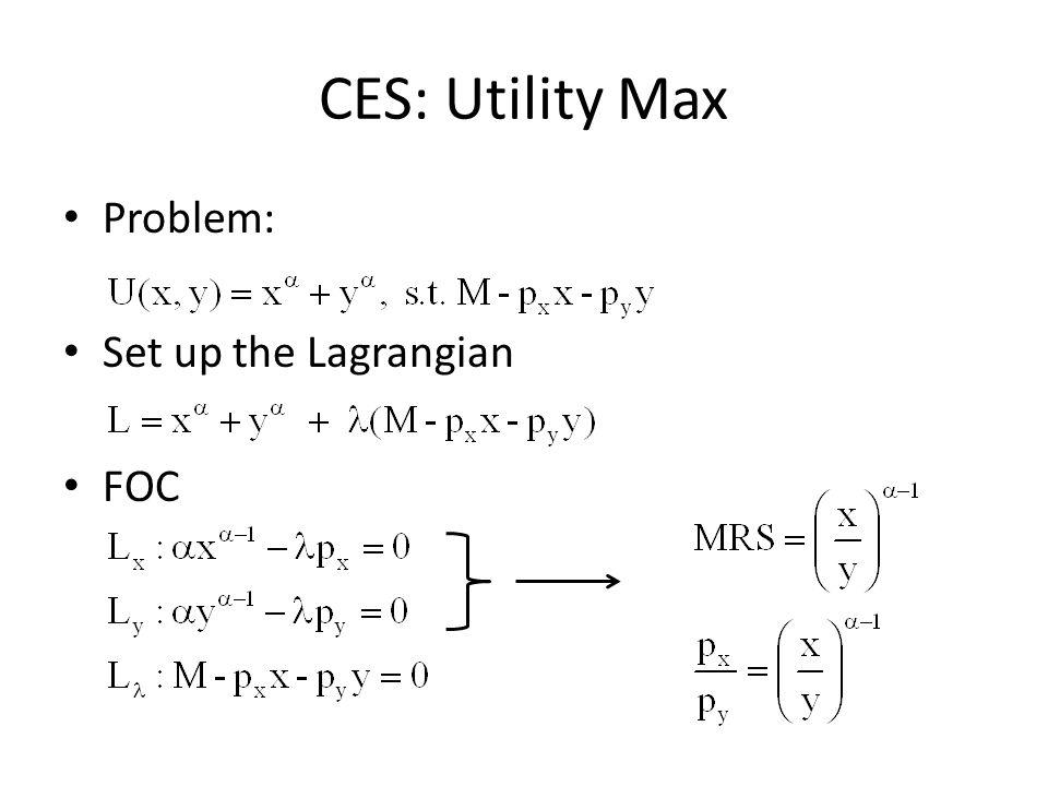 CES: Utility Max Problem: Set up the Lagrangian FOC