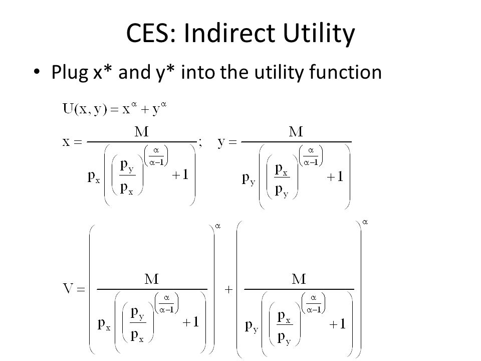 CES: Indirect Utility Plug x* and y* into the utility function