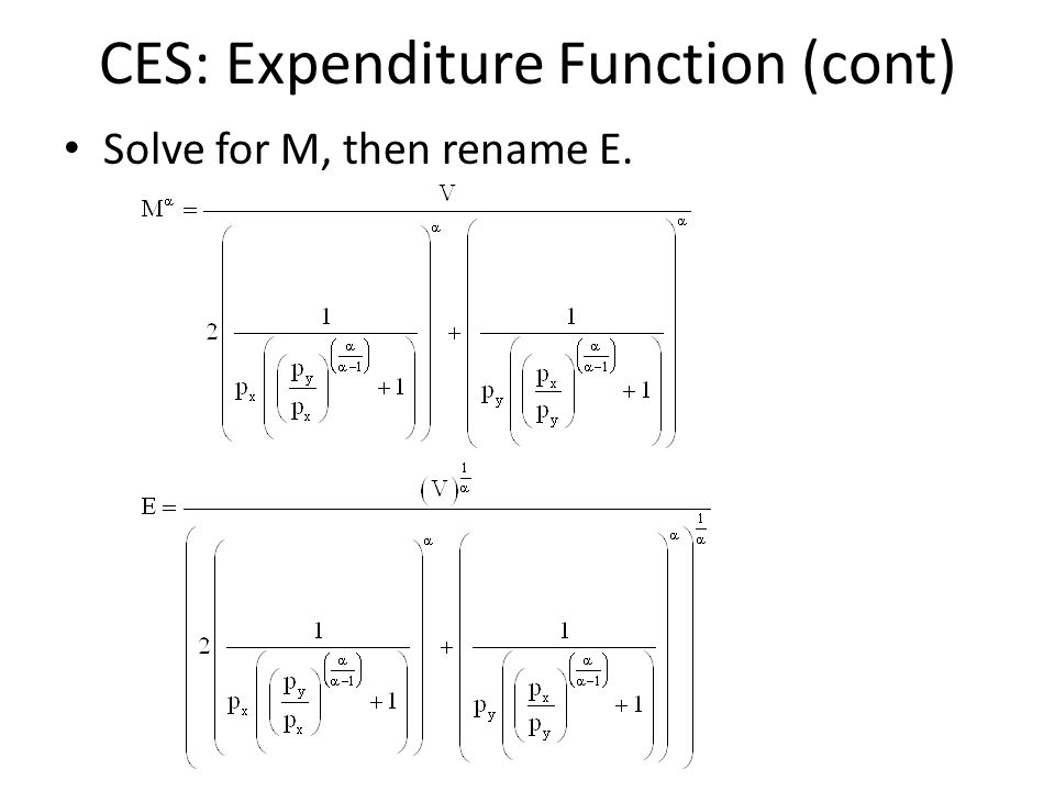 CES: Expenditure Function (cont) Solve for M, then rename E.