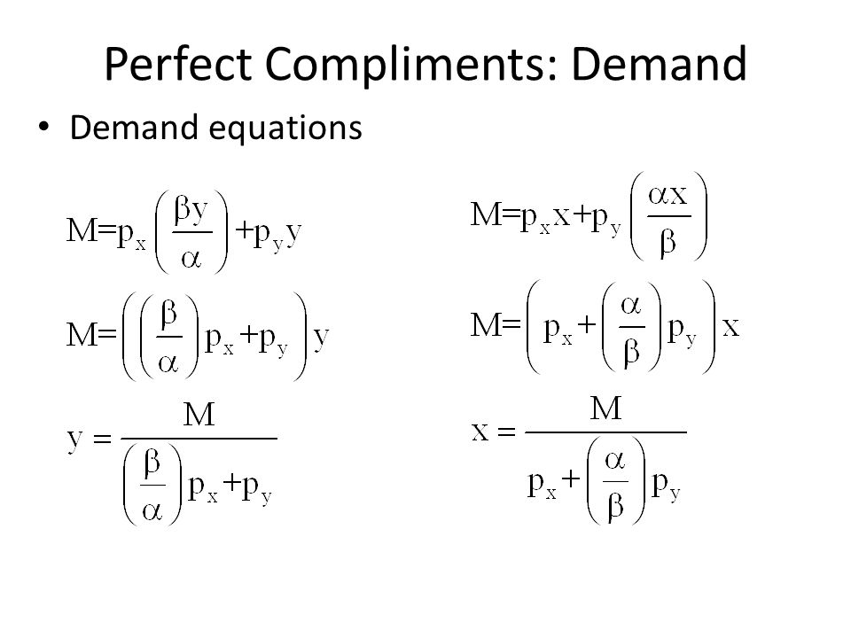 Perfect Compliments: Demand Demand equations
