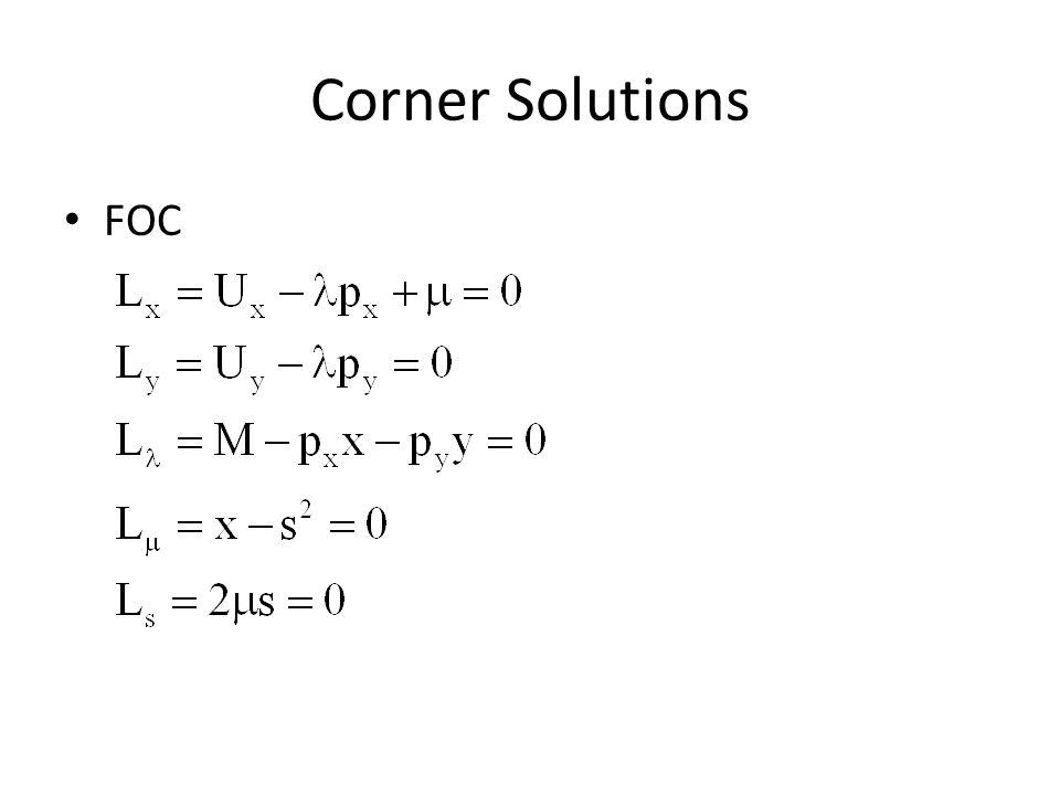 Corner Solutions FOC
