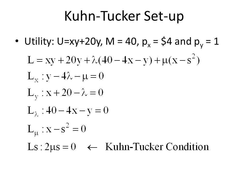 Kuhn-Tucker Set-up Utility: U=xy+20y, M = 40, p x = $4 and p y = 1