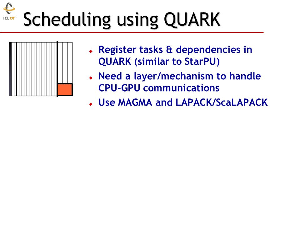 Scheduling using QUARK  Register tasks & dependencies in QUARK (similar to StarPU)  Need a layer/mechanism to handle CPU-GPU communications  Use MAGMA and LAPACK/ScaLAPACK
