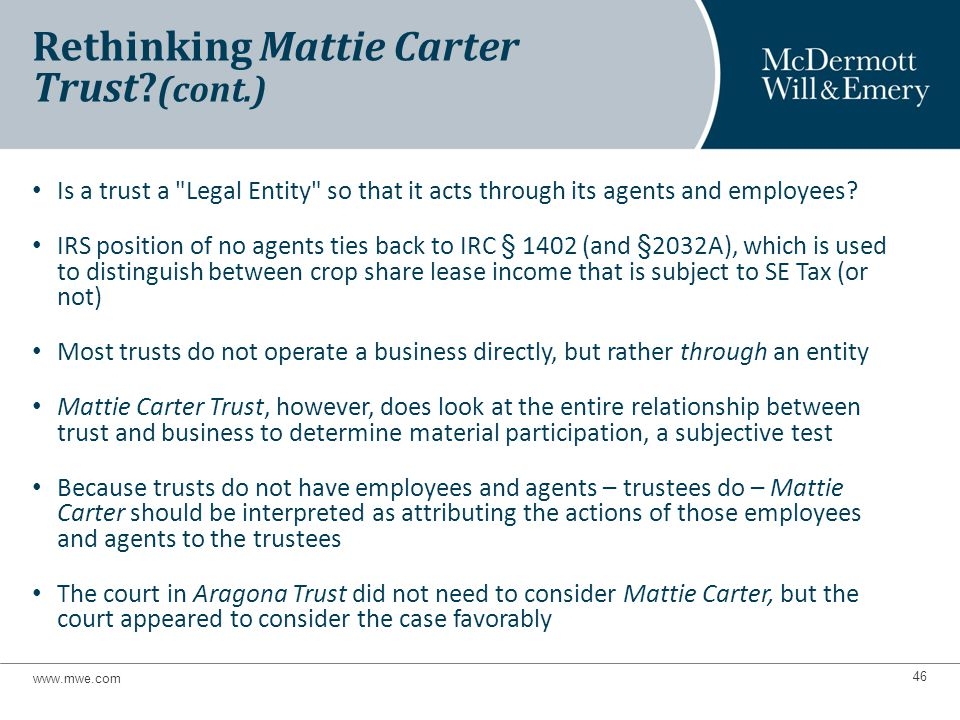 Is a trust a Legal Entity so that it acts through its agents and employees.