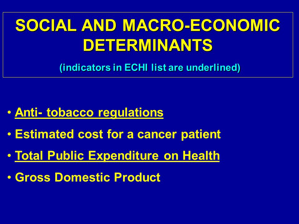 Anti- tobacco regulations Estimated cost for a cancer patient Total Public Expenditure on Health Gross Domestic Product SOCIAL AND MACRO-ECONOMIC DETERMINANTS (indicators in ECHI list are underlined)