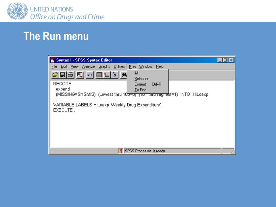The Run menu