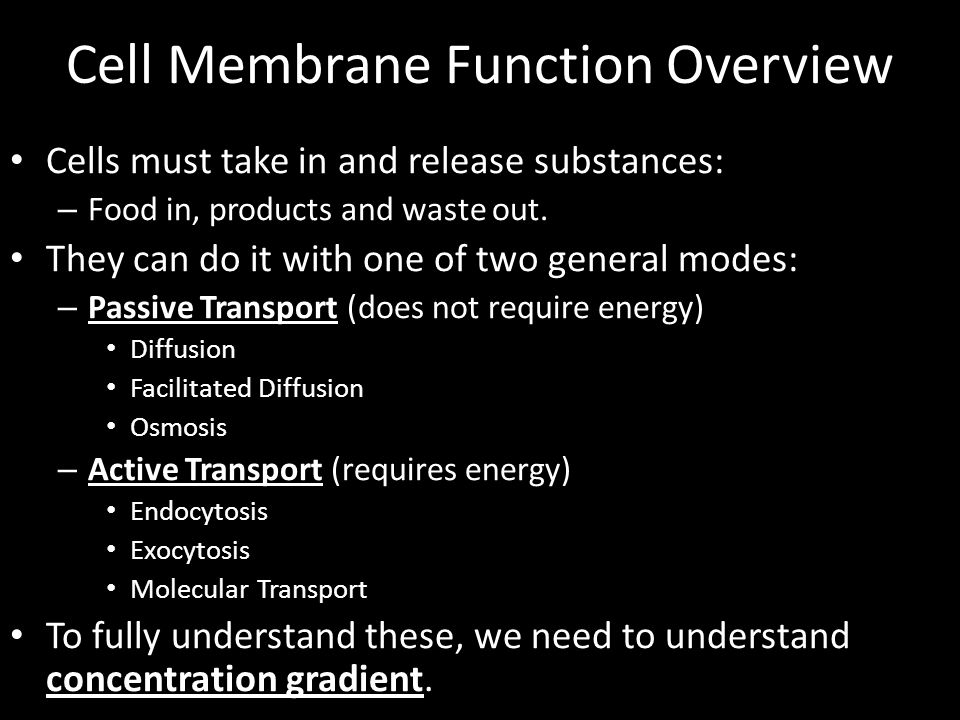 Cell Membrane Function Overview Cells must take in and release substances: – Food in, products and waste out. They can do it with one of two general m