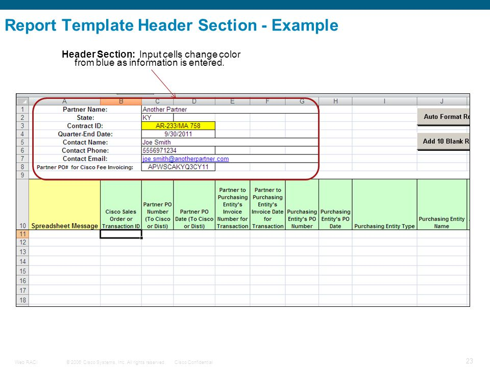 © 2006 Cisco Systems, Inc. All rights reserved.Cisco ConfidentialWeb RACI 23 Header Section: Input cells change color from blue as information is ente