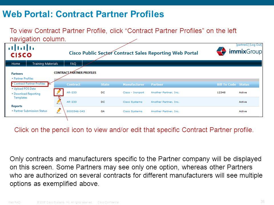 © 2006 Cisco Systems, Inc. All rights reserved.Cisco ConfidentialWeb RACI 36 Web Portal: Contract Partner Profiles To view Contract Partner Profile, c