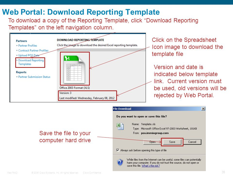 © 2006 Cisco Systems, Inc. All rights reserved.Cisco ConfidentialWeb RACI 38 Web Portal: Download Reporting Template To download a copy of the Reporti