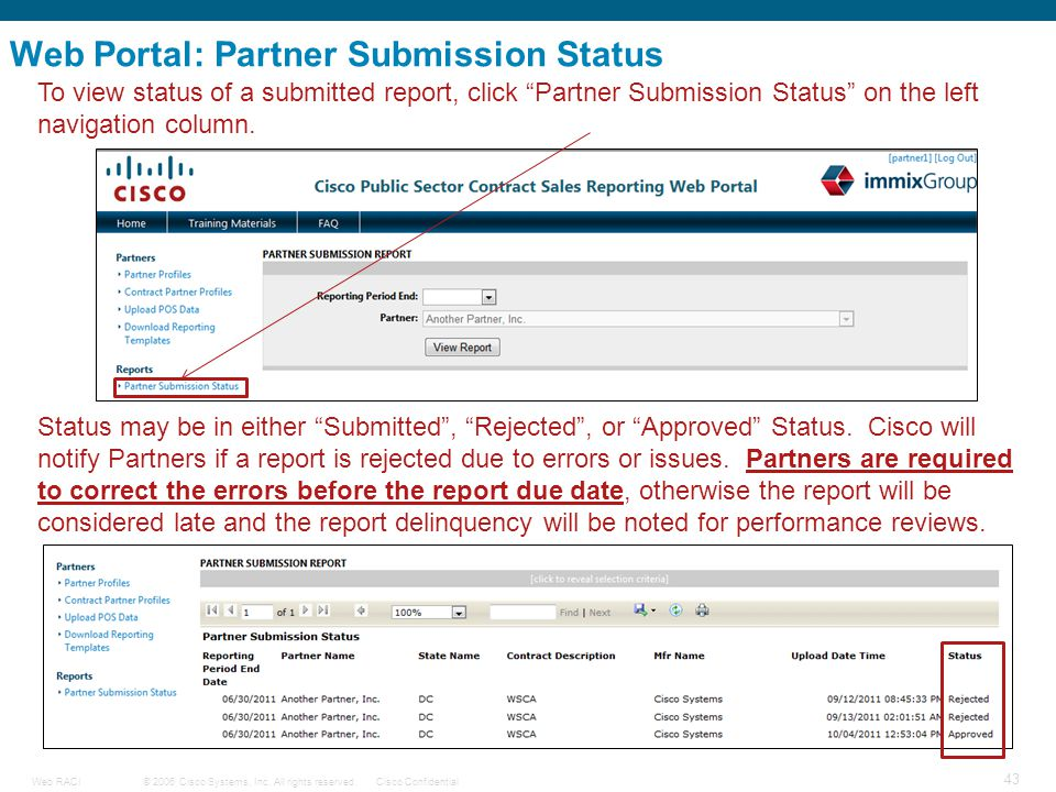 © 2006 Cisco Systems, Inc. All rights reserved.Cisco ConfidentialWeb RACI 43 Web Portal: Partner Submission Status To view status of a submitted repor