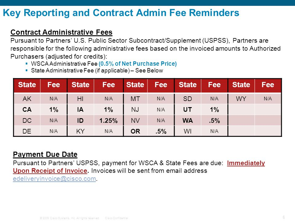 © 2009 Cisco Systems, Inc. All rights reserved.Cisco Confidential 6 Key Reporting and Contract Admin Fee Reminders Contract Administrative Fees Pursua