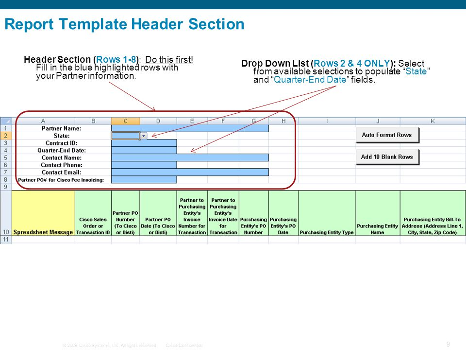 © 2009 Cisco Systems, Inc. All rights reserved.Cisco Confidential 9 Report Template Header Section Header Section (Rows 1-8): Do this first! Fill in t