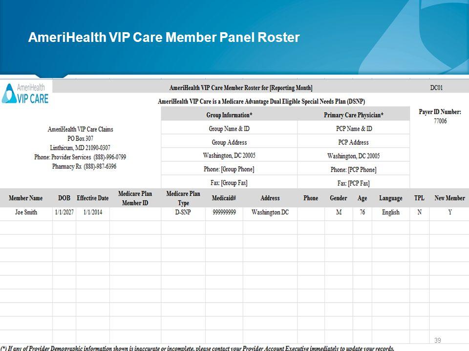 AmeriHealth VIP Care Member Panel Roster 39