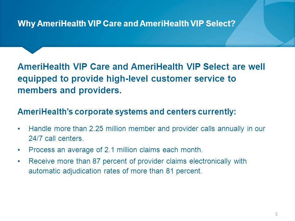 Communication Updates and outcomes are communicated through several methods: AmeriHealth VIP Care and AmeriHealth VIP Select's Website – Quality and Satisfaction Updates Member News Bulletin Provider News Bulletin Provider Workshops – presentations are interactive via the website, face-to- face workshop presentations and provider site visits.