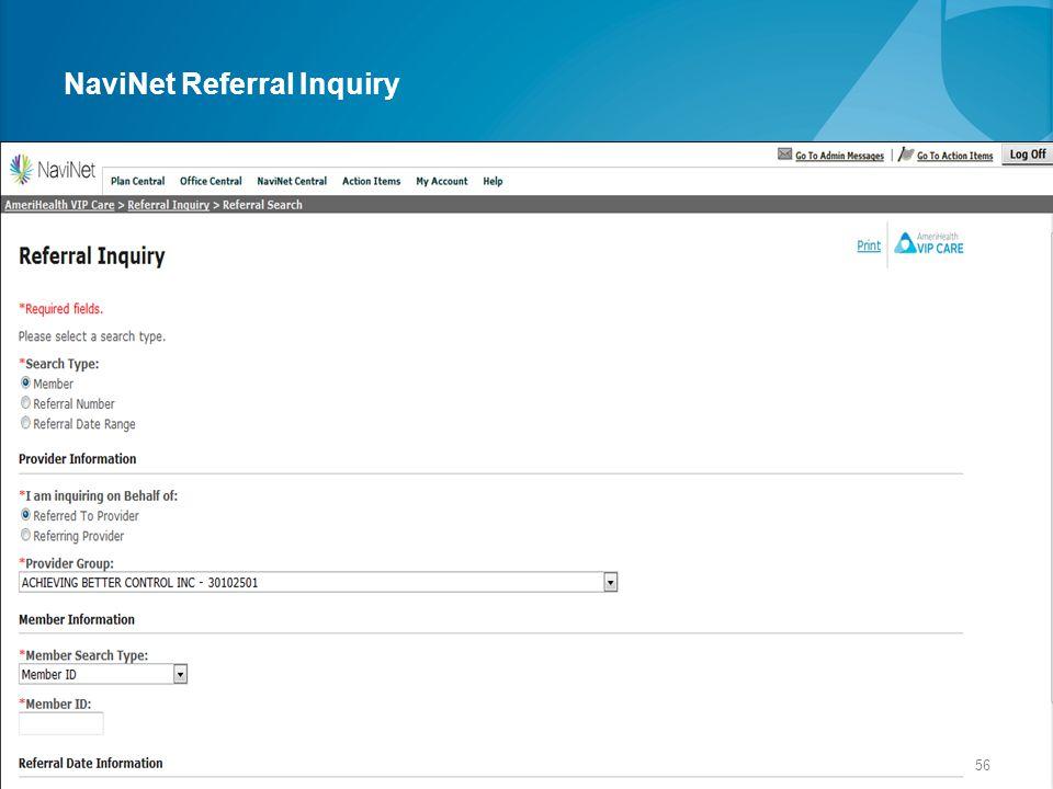 NaviNet Referral Inquiry 56
