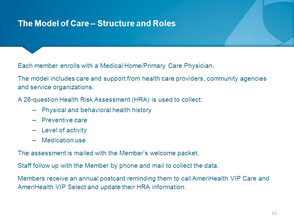 The Model of Care – Structure and Roles Each member enrolls with a Medical Home/Primary Care Physician. The model includes care and support from healt