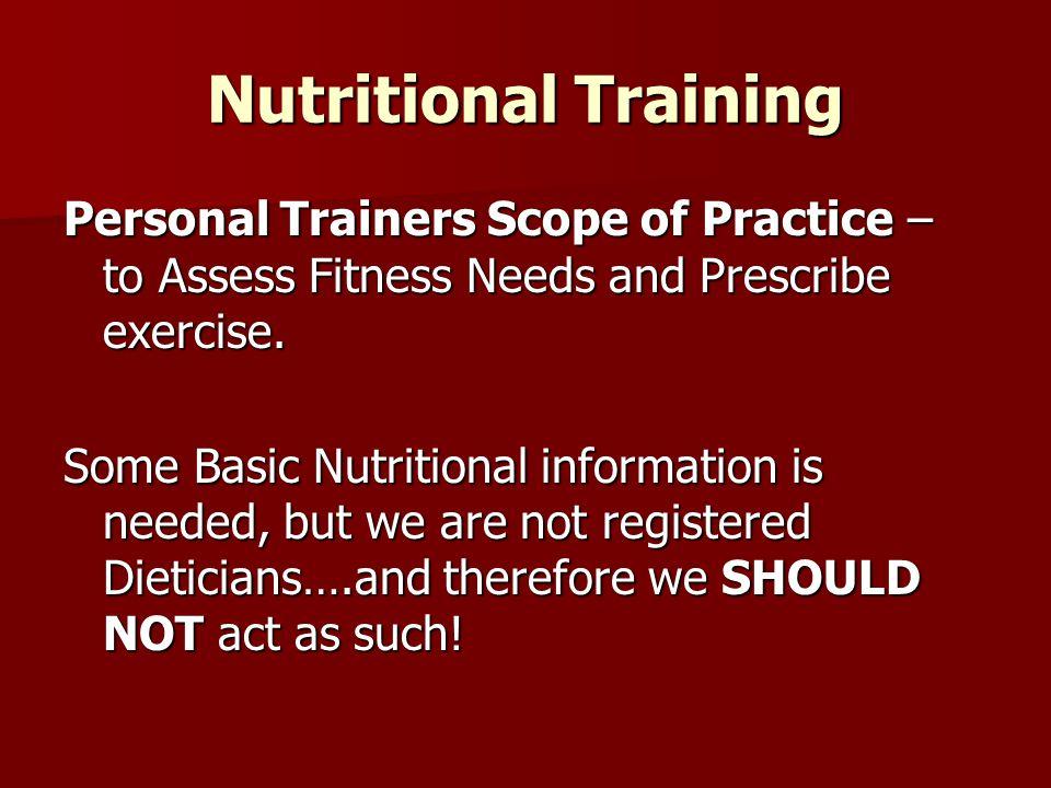 Nutritional Training Summary….