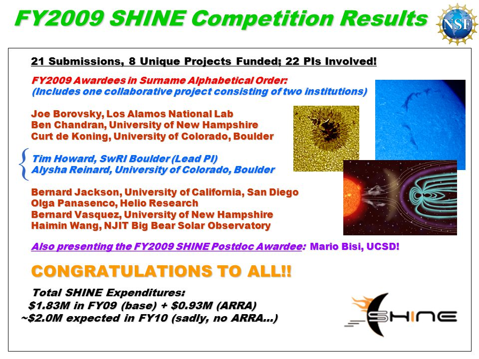 FY2009 SHINE Competition Results 21 Submissions, 8 Unique Projects Funded; 22 PIs Involved.