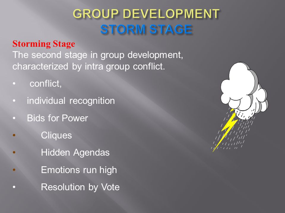 Storming Stage The second stage in group development, characterized by intra group conflict. conflict, individual recognition Bids for Power Cliques H