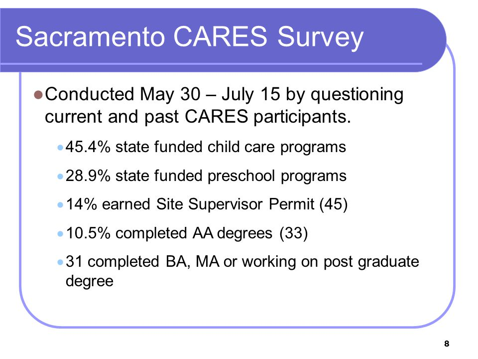 8 Sacramento CARES Survey Conducted May 30 – July 15 by questioning current and past CARES participants.