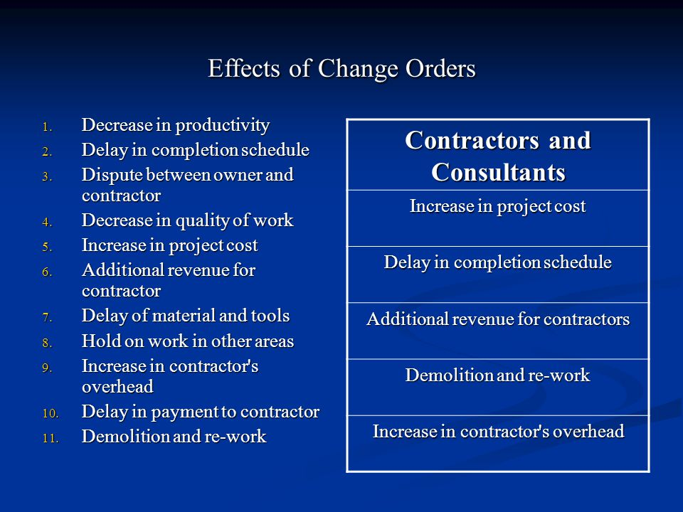 Effects of Change Orders 1. Decrease in productivity 2.