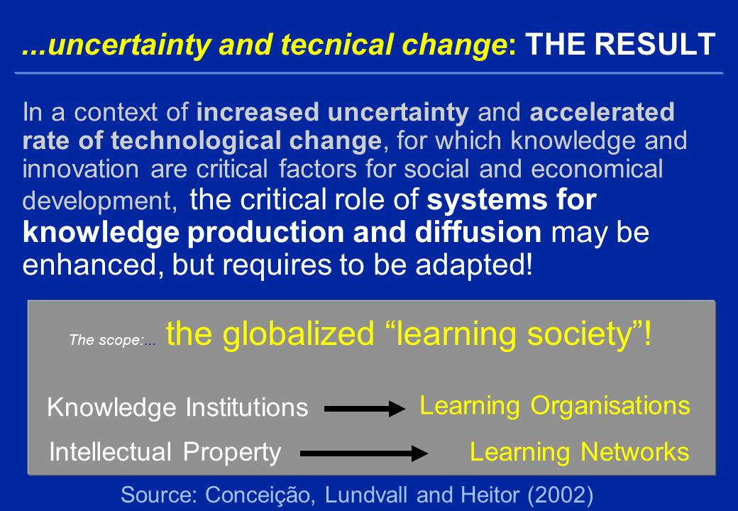 ...uncertainty and tecnical change: THE RESULT In a context of increased uncertainty and accelerated rate of technological change, for which knowledge and innovation are critical factors for social and economical development, the critical role of systems for knowledge production and diffusion may be enhanced, but requires to be adapted.