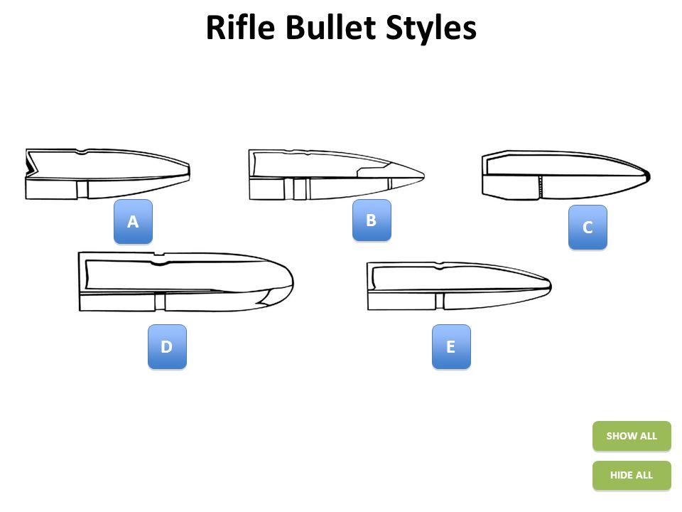 Rifle Bullet Styles SHOW ALL HIDE ALL A A B B C C E E D D
