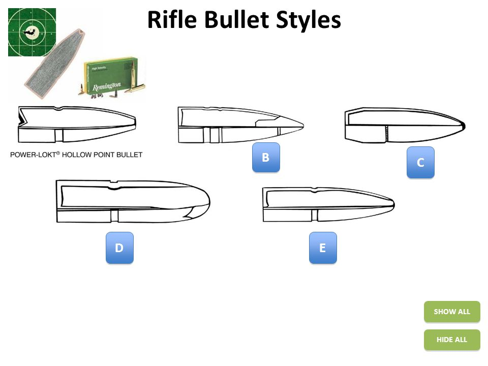 Rifle Bullet Styles SHOW ALL HIDE ALL A A C C E E D D  designed for larger game  use a bronze insert  expend well out at longer ranges  are very good for medium size game at longer than usual ranges.