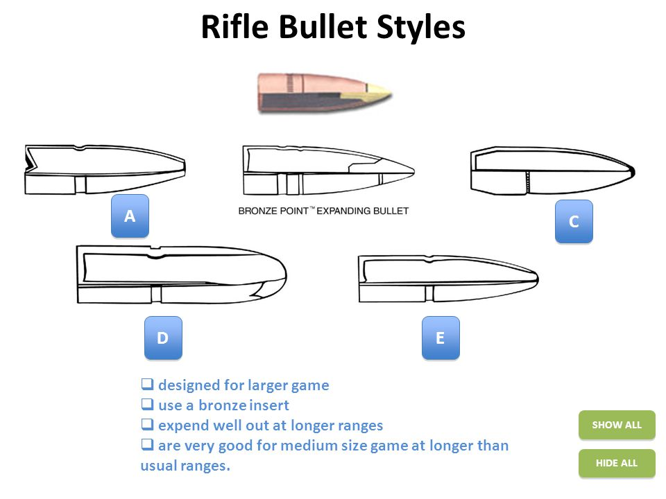 Rifle Bullet Styles SHOW ALL HIDE ALL A A C C E E D D  designed for larger game  use a bronze insert  expend well out at longer ranges  are very good for medium size game at longer than usual ranges.