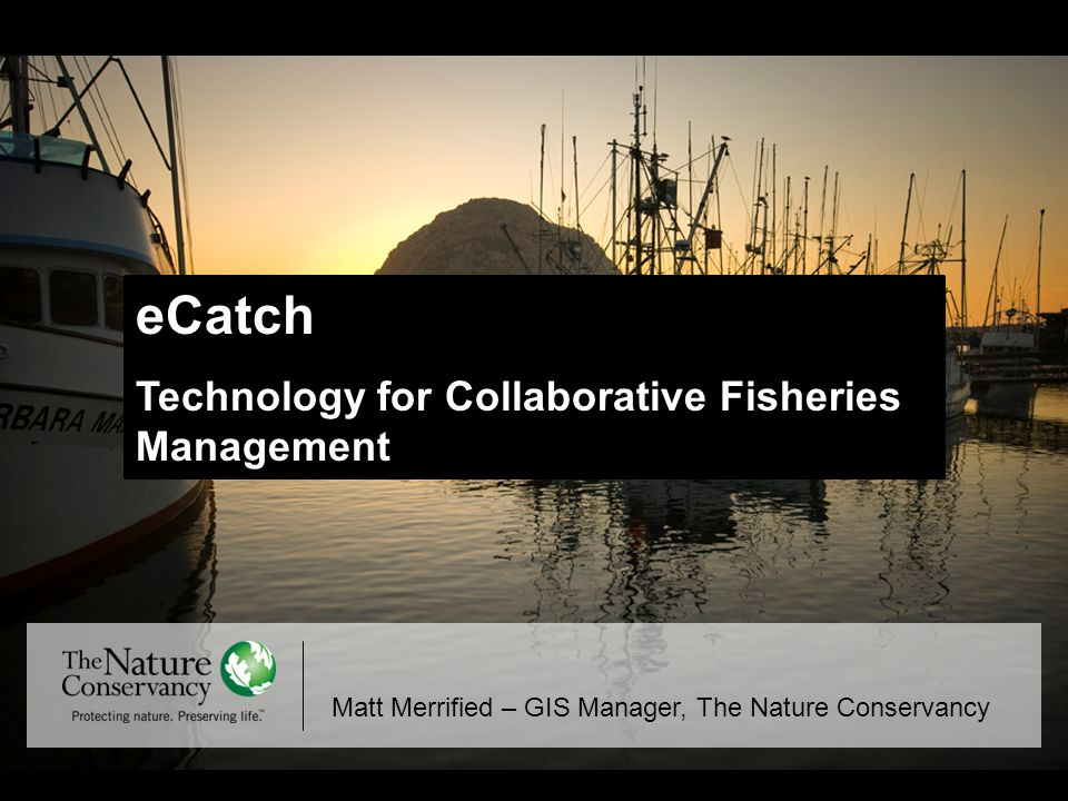 eCatch Technology for Collaborative Fisheries Management Matt Merrified – GIS Manager, The Nature Conservancy