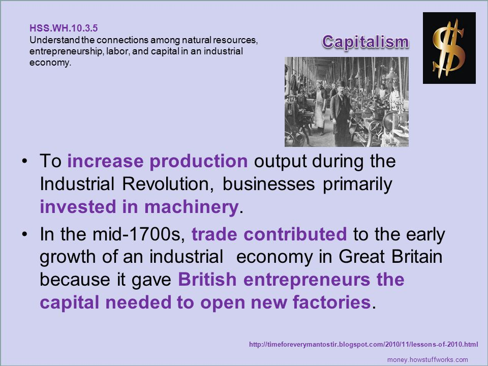HSS.WH.10.3.5 Understand the connections among natural resources, entrepreneurship, labor, and capital in an industrial economy.