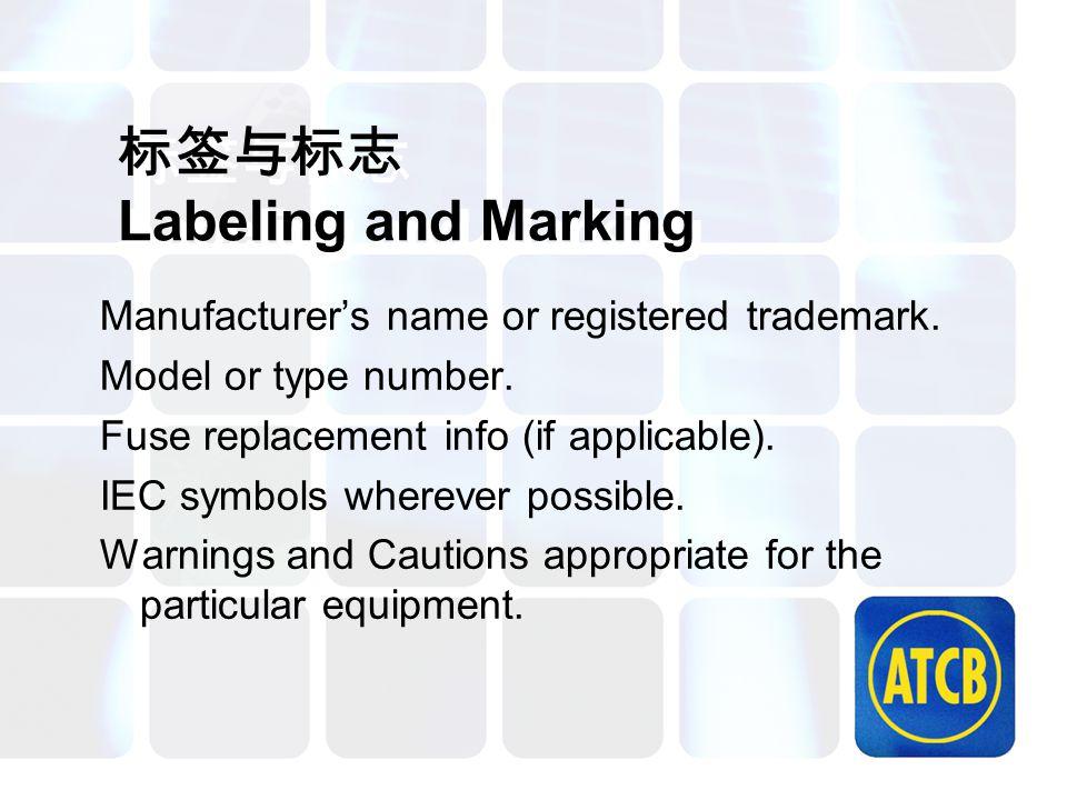 标签与标志 Labeling and Marking Manufacturer's name or registered trademark. Model or type number. Fuse replacement info (if applicable). IEC symbols where