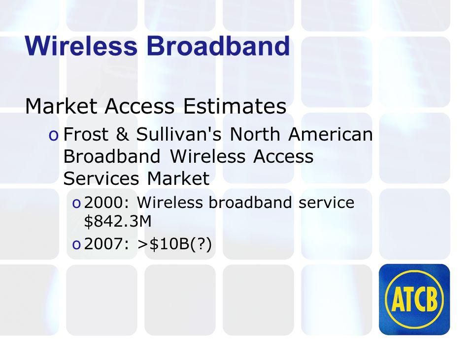 Wireless Broadband Market Access Estimates oFrost & Sullivan's North American Broadband Wireless Access Services Market o2000: Wireless broadband serv