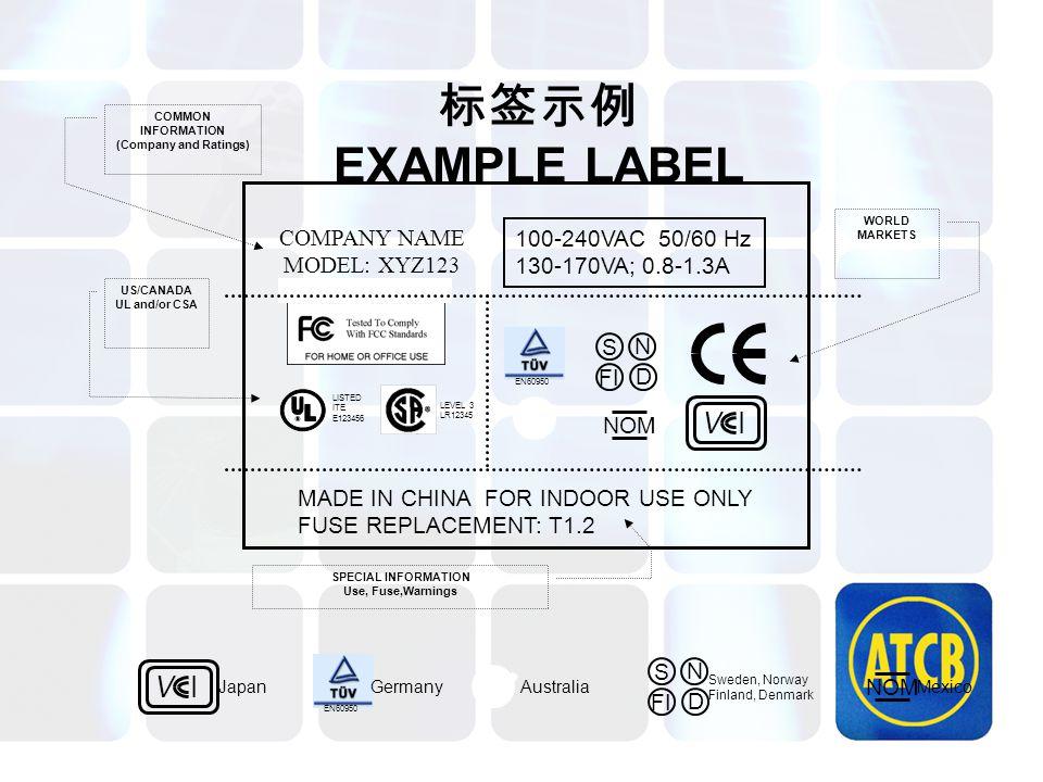 标签示例 EXAMPLE LABEL V I SN FI D NOM COMPANY NAME MODEL: XYZ123 LISTED ITE E123456 EN60950 100-240VAC 50/60 Hz 130-170VA; 0.8-1.3A MADE IN CHINA FOR IND