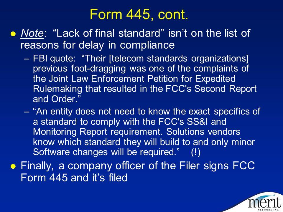 Form 445, cont.